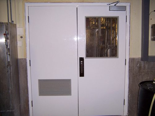 Chem Pruf Fiberglass Double Door with window and fiberglass fixed louver