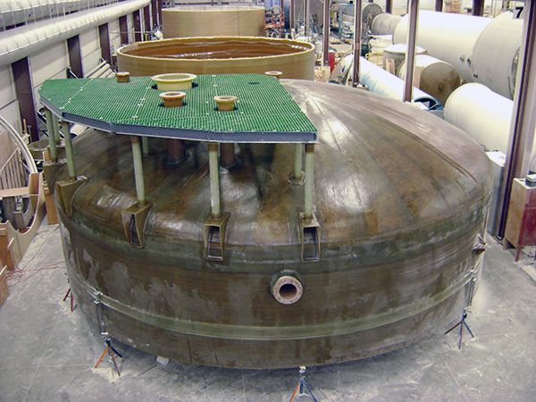 30 Foot Diameter Fiberglass Tank Section, dome top with fiberglass access platform.